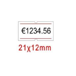 ετικέτες 21x12 με κόκκινη ρίγα για ετικετογράφο