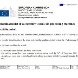 πιστοποίηση από την ΕΚΤ καταμετρητή κερμάτων ΤΕ 8+1