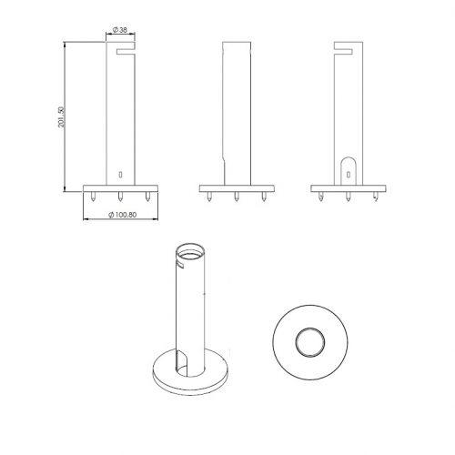 κολώνα στήριξης βάσης pos επιτραπέζια ύψους 20εκ