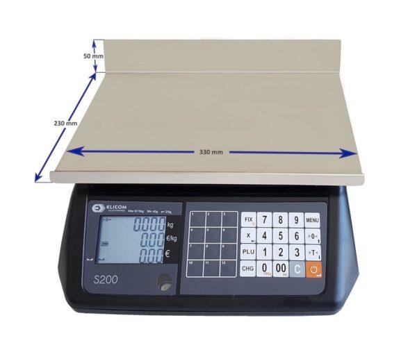 ζυγαριά λιανικής πώλησης elicom s200 15/30kg 5/10g χωρίς κολώνα